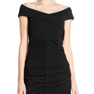 Nicole Miller off the shoulder Rouched dress